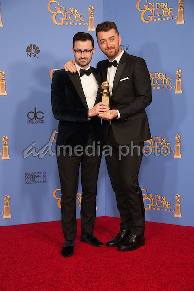 """After winning the category of BEST ORIGINAL SONG – MOTION PICTURE for """"Writing's on the Wall"""" for """"Spectre"""" - music and lyrics by: Jimmy Napes and Sam Smith - pose with the award backstage in the press room at the 73rd Annual Golden Globe Awards at the Beverly Hilton in Beverly Hills, CA on Sunday, January 10, 2016. Photo Credit: HFPA/AdMedia"""
