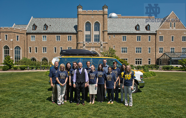 May 17, 2012; College of Science Dean Greg Crawford poses with College of Science staff and Marketing Communications staff in front of the support van for Crawford's bike ride across the United States to raise awareness and funds for the Ara Parseghian Medical Research Foundation...Photo by Matt Cashore/University of Notre Dame