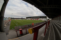 General view of Globe Arena Stadium during the Sky Bet League 2 match between Morecambe and Wycombe Wanderers at the Globe Arena, Morecambe, England on 18 August 2015. Photo by Andy Rowland.