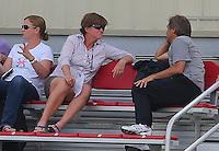 BOYDS, MD - May 26 2014: New US WNT coach Jill Ellis, with April Hendricks and Houston coach Randy Waldrum at the Washington Spirit v Houston Dash  NWSL match at Maryland Sportsplex, in Boyds, Maryland. Spirit won 3-2.
