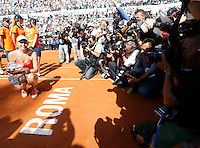 Maria Sharapova of Russia     celebrates after win the Italian Open tennis BNL tournament at the Foro Italico in Rome, Italy, 17 May 2015.