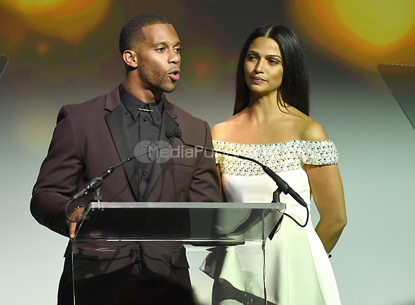 NEW YORK, NY - NOVEMBER 02:  Victor Cruz and Camilia Alves speak onstage during the Samsung annual charity gala 2017 at Skylight Clarkson Square on November 2, 2017 in New York City.  Credit:  George Napolitano/MediaPunch