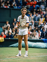 July 1 1980, London, England, AELTC, All England Club, Wimbledon, Dick Stockton(USA) serves<br /> Photo: Tennisimages/Henk Koster