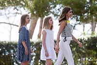 Queen of Spain Letizia Ortiz, Princess Leonor (L) and Princess Sofia (C)