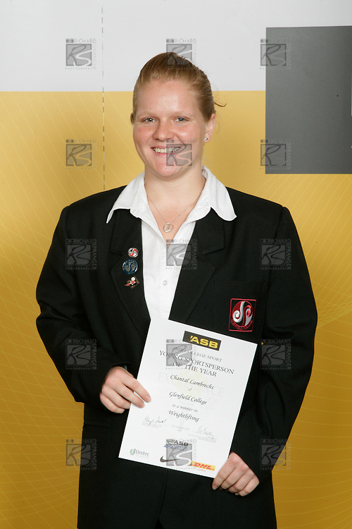 Girls Weightlifting winner Chantal Lambrechs. ASB College Sport Young Sportperson of the Year Awards 2007 held at Eden Park on November 15th, 2007.