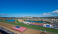 DEL MAR, CA - NOVEMBER 04: Military jets fly over the track during opening ceremonies of Day 2 of the 2017 Breeders' Cup World Championships at Del Mar Racing Club on April 3, 2017 in Del Mar, California. (Photo by Scott Serio/Breeders Cup via Getty Images)