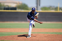 San Diego Padres pitcher Ronald Bolanos (77) follows through on his delivery during an Instructional League game against the Texas Rangers on September 20, 2017 at Peoria Sports Complex in Peoria, Arizona. (Zachary Lucy/Four Seam Images)