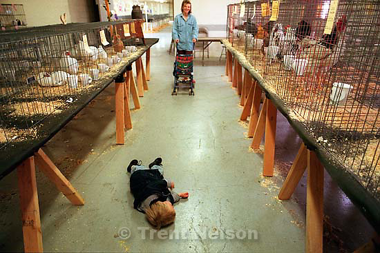 Noah Nelson wanted to go &quot;night night&quot; on the floor of the Poultry Building at the Salt Lake County Fair. Laura Nelson in background.<br />