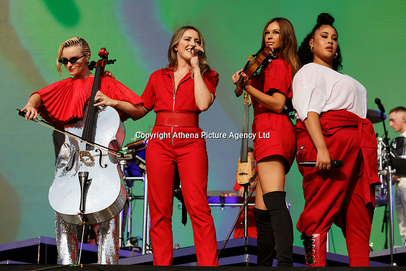Pictured: (L-R) Grace Chatto, Kirsten Joy, Stephanie Benedetti and Nikki Cislyn of Clean Bandit. Saturday 26 May 2018<br /> Re: BBC Radio 1 Biggest Weekend at Singleton Park in Swansea, Wales, UK.