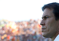 Calcio, Serie A: Frosinone vs Roma. Frosinone, stadio Comunale, 12 settembre 2015.<br /> Roma&rsquo;s coach Rudi Garcia waits for the start of the Italian Serie A football match between Frosinone and Roma at Frosinone Comunale stadium, 12 September 2015.<br /> UPDATE IMAGES PRESS/Isabella Bonotto