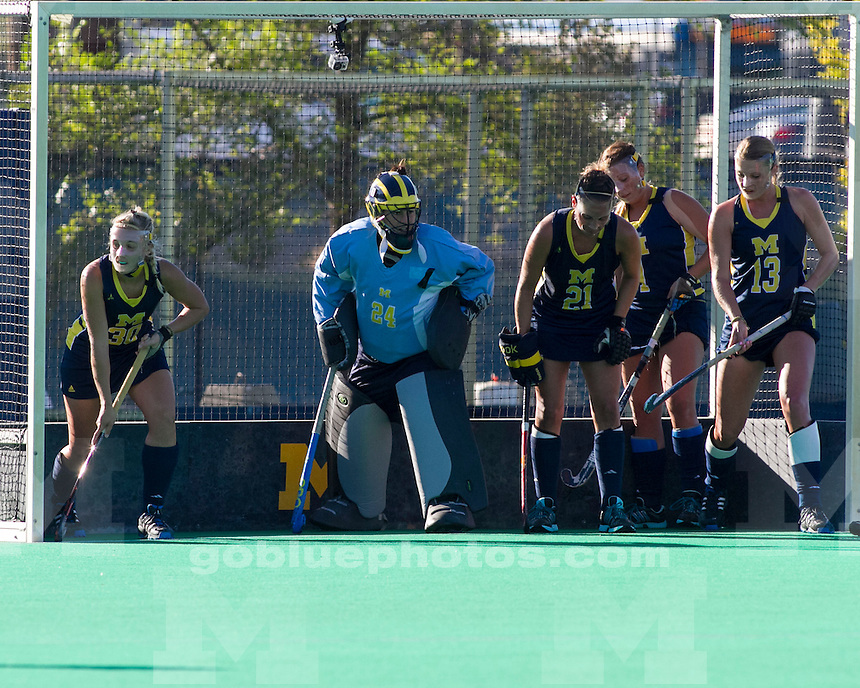 The University of Michigan womens field hockey team; 5-0 victory over Missouri State at Ocker Field in Ann Arbor MI. on September 27,2013.
