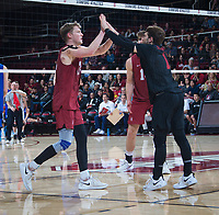 STANFORD, CA - March 2, 2019: Jordan Ewert, Kyle Dagostino, Kyler Presho at Maples Pavilion. The Stanford Cardinal defeated BYU 25-20, 25-20, 22-25, 25-21.