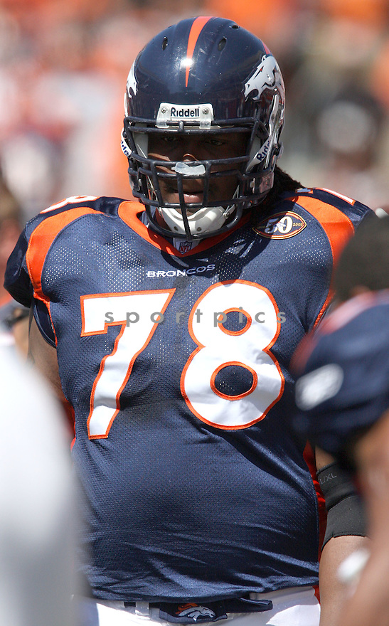 RYAN CLADY,of the Denver Broncos , in actions during the Broncos  game against the Cincinnati Bengals  on September 13, 2009 in Cincinnati, OH  The Broncos beat the Bengals 12-7.