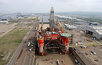 JOHANN MULLER VISITS HARLAND &amp; WOLFF BELFAST -    Wednesday 30th April 2014<br /> <br /> A view of the Blackwood Dolphin Oil Rig from the top of the Samson crane during their Harland &amp; Wolff shipyard in Belfast.<br /> <br /> Mandatory Credit - Photo by John Dickson - DICKSONDIGITAL