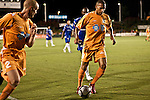 September 12, 2009. Cary, NC..The Carolina Railhawks took over the #2 spot in the league after a 2-1 victory over the Puerto Rico Islanders..#8 Matt Watson, right, and #2 Greg Shields, left.