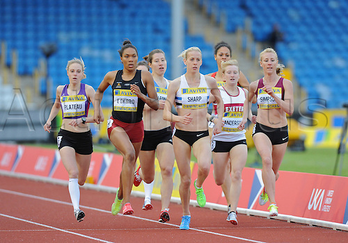 22.06.2012 Birmingham, ENGLAND : Womens 800m Heats, Linsey Sharp and Jemma Simpson in action during the Aviva Trials at the Alexandra Stadium...