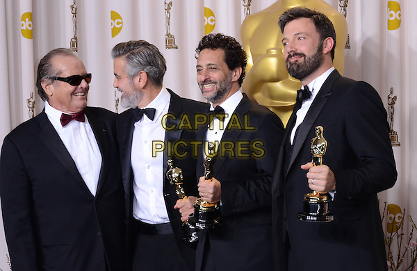 Jack Nicholson, George Clooney, Grant Heslov, Ben Affleck.85th Annual Academy Awards held at the Dolby Theatre at Hollywood & Highland Center, Hollywood, California, USA..February 24th, 2013.pressroom oscars half length trophies red bow tie sunglasses shades profile winner trophy winner award beard facial hair arm over shoulder white black shirt bow tie tuxedo .CAP/ADM/RE.©Russ Elliot/AdMedia/Capital Pictures.