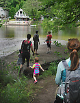 Overview as the group arrive at the bank of the Esopus Creek, during a Hike It Baby/ Catskills-Woodstock sponsored hike into the Esopus Bend Nature Preserve in Saugerties, NY, on Memorial Day Monday, May 30, 2016. Photo by Jim Peppler. Copyright Jim Peppler 2016<br /> The hike was led by HIB.Catskill-Woodstock, Ambassador, Ann Peters, accompanied by her husband, John Peters, their daughter, Violet; HIB chapter co-Ambassador, Ali Troxell, with her daughter, Lucia; and Robin Willens, and her son, Landon. They entered at the Sterley Avenue entrance and walked thru to the landing area on the Esopus.