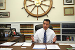 Nevada Gov. Brian Sandoval talks about the ongoing legislative session from his office at the Capitol in Carson City, Nev., on Friday, April 17, 2015.   <br /> Photo by Cathleen Allison