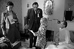 """Thorpe works for us."" Jeremy Thorpe on the election campaign trail mid Devon constituency 1979 with his wife Marion. Visiting sick constituent."