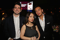 Stephen Ruiz, Hot Gio and Sebastian Infante attend the Happy Groups Launch Party at the Luxe Lounge at Lucky Strike, on May 22 in New York City.