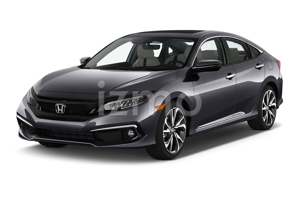 2019 Honda Civic-Sedan Touring 4 Door Sedan Angular Front stock photos of front three quarter view