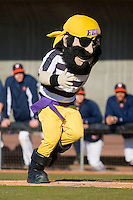 "East Carolina Pirates mascot ""PeeDee"" runs the bases between innings at Clark-LeClair Stadium on February 19, 2010 in Greenville, North Carolina.   Photo by Brian Westerholt / Four Seam Images"