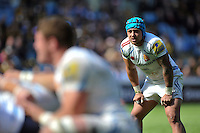 Jack Nowell of Exeter Chiefs watches a scrum. Aviva Premiership match, between Wasps and Exeter Chiefs on April 26, 2015 at the Ricoh Arena in Coventry, England. Photo by: Patrick Khachfe / JMP