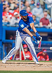 6 March 2019: Toronto Blue Jays infielder Richard Urena breaks his bat, hitting into a fielder's choice in the 3rd inning of a Spring Training game against the Philadelphia Phillies at Dunedin Stadium in Dunedin, Florida. The Blue Jays defeated the Phillies 9-7 in Grapefruit League play. Mandatory Credit: Ed Wolfstein Photo *** RAW (NEF) Image File Available ***