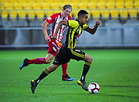 Sarpreet Singh in action during the A-League football match between Wellington Phoenix and Melbourne City FC at Westpac Stadium in Wellington, New Zealand on Sunday, 21 April 2019. Photo: Dave Lintott / lintottphoto.co.nz
