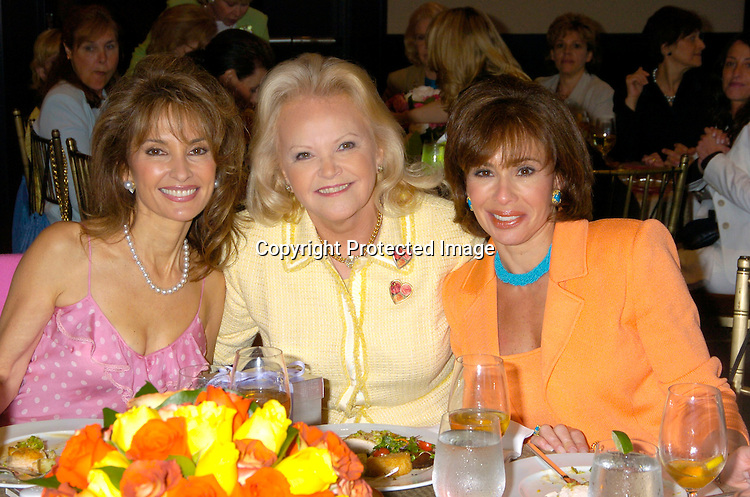 Jane Pontarelli,  Susan Lucci and Jeanine Pirro ..at The Rose Luncheon benefitting Little Flower Children's ..Services on June 15, 2004 at the Mandarin Oriental Hotel...Photo by Robin Platzer, Twin Images. ..Jane Pontarelli was the Chairwoman of the event.