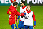Spain's Gerard Pique (l) and Gerard Deulofeu during training session. March 23,2017.(ALTERPHOTOS/Acero)
