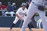 Jordan Foxof the University of California at Irvine leading off first base in a game against James Madison University at the Baseball at the Beach Tournament held at BB&T Coastal Field in Myrtle Beach, SC on February 28, 2010.