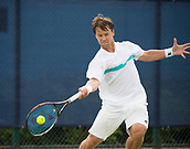 June 13th 2017, Nottingham, England; ATP Aegon Nottingham Open Tennis Tournament day 4;  Forehand from Ricardas Berankis of Lithuania who defeated Tobias Kamke of Germany in three sets