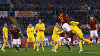 Calcio, Champions League: Gruppo E - Roma vs Bate Borisov. Roma, stadio Olimpico, 9 dicembre 2015.<br /> Roma's Antonio Ruediger, third from right, heads the ball during the Champions League Group E football match between Roma and Bate Borisov at Rome's Olympic stadium, 9 December 2015.<br /> UPDATE IMAGES PRESS/Riccardo De Luca