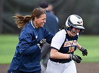 NWA Democrat-Gazette/CHARLIE KAIJO Rogers Heritage High School head coach Tiffany Taylor and Kayla Paulo (15) react as she scores during the 6A State Softball Tournament, Thursday, May 9, 2019 at Tiger Athletic Complex at Bentonville High School in Bentonville. Rogers Heritage High School lost to Northside High School 8-6
