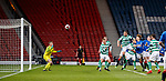 25.04.2019 Celtic v Rangers youth cup final: Nathan Young-Coombes scores the winning goal with a header
