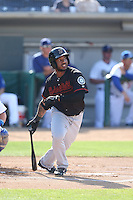 Guillermo Pimentel (1) of the Bakersfield Blaze bats during a game against the Rancho Cucamonga Quakes at LoanMart Field on June 1, 2015 in Rancho Cucamonga, California. Rancho Cucamonga defeated Bakersfield, 5-2. (Larry Goren/Four Seam Images)