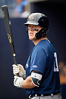 Lakeland Flying Tigers first baseman Blaise Salter (21) in the dugout during a game against the Tampa Tarpons on April 8, 2018 at George M. Steinbrenner Field in Tampa, Florida.  Lakeland defeated Tampa 3-1.  (Mike Janes/Four Seam Images)
