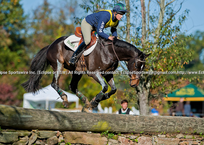 Liza Horan competes aboard Obama during the Cross Country Test at the Dansko Fair Hill International 3-Day Event in Fair Hill, Maryland on October 15, 2011.