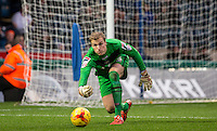 Goalkeeper Elliot Justham of Luton Town during the Sky Bet League 2 match between Wycombe Wanderers and Luton Town at Adams Park, High Wycombe, England on 6 February 2016. Photo by Andy Rowland.