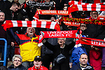Liverpool Ladies 2 Everton Ladies 1, 19/03/2017. Select Security Stadium, SSE FA Cup Fifth Round. Liverpool  fans singing You'll Never Walk Alone before the game between Liverpool Ladies v Everton Ladies at The Select Security Stadium, Widnes, in the Women's SSE FA Cup Fifth Round. Photo by Paul Thompson.