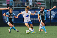 Allston, MA - Saturday, May 07, 2016: Chicago Red Stars midfielder Danielle Colaprico (24), Boston Breakers midfielder Angela Salem (26) and Chicago Red Stars midfielder Vanessa DiBernardo (10) during a regular season National Women's Soccer League (NWSL) match at Jordan Field.