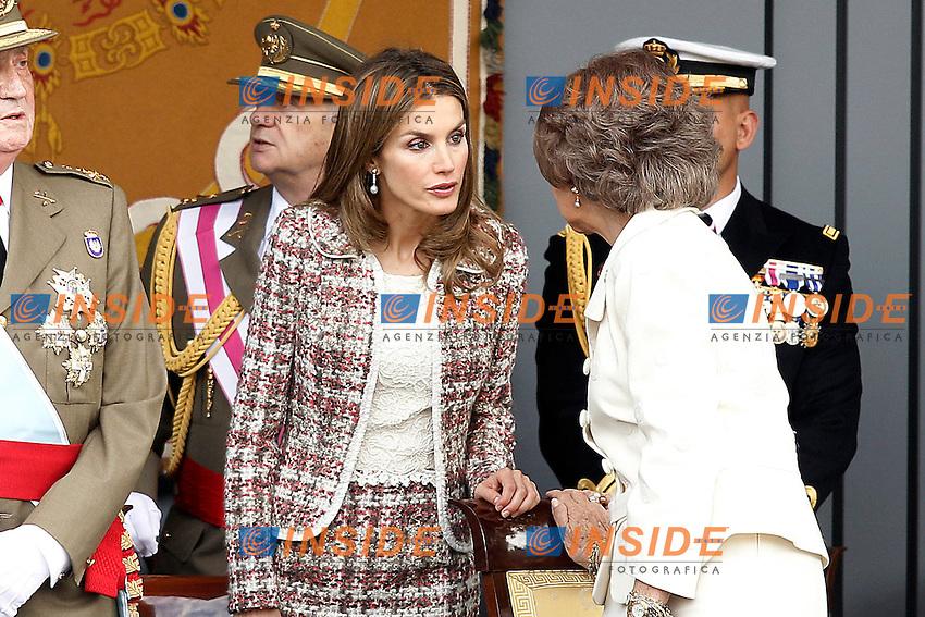 la Principessa Letizia di Spagna e Sofia Regina di Spagna durante la Parata Militare.October 12,2012.(ALTERPHOTOS/Insidefoto/Acero) .ITALY ONLY