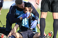 Luke O'Nien of Wycombe Wanderers receives treatment for a bloody nose during the Sky Bet League 2 match between Wycombe Wanderers and Mansfield Town at Adams Park, High Wycombe, England on 25 March 2016. Photo by David Horn.