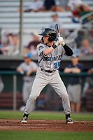 Hudson Valley Renegades center fielder Michael Smith (24) at bat during a game against the Auburn Doubledays on September 5, 2018 at Falcon Park in Auburn, New York.  Hudson Valley defeated Auburn 11-5.  (Mike Janes/Four Seam Images)