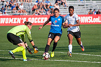 Kansas City, MO - Sunday September 3, 2017: Nicole Barnhart, Brittany Taylor, Maya Hayes during a regular season National Women's Soccer League (NWSL) match between FC Kansas City and Sky Blue FC at Children's Mercy Victory Field.