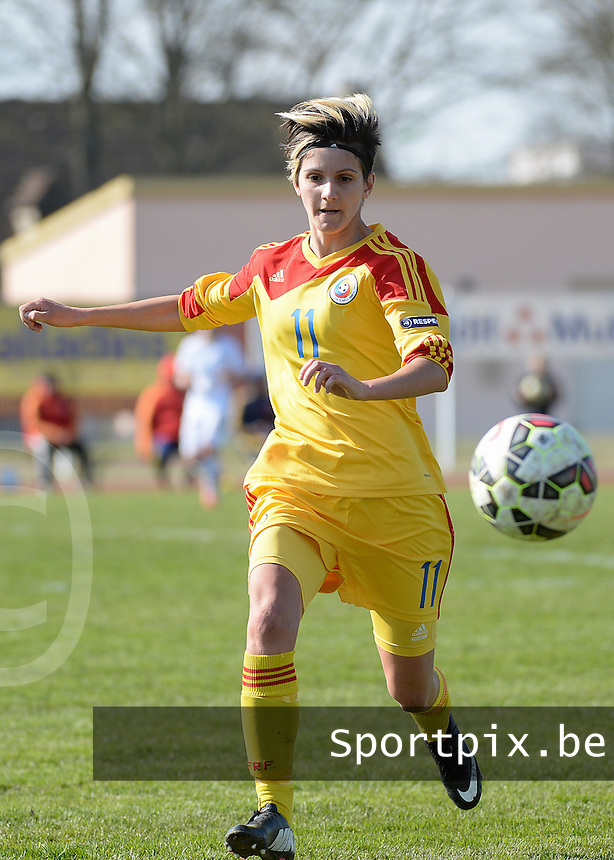 20150406 - OZOIR , France :<br /> <br /> Romanian Claudia Bistrian<br /> , pictured during the female soccer match between Women Under 19 teams of France and Romania , on the Secund matchday  in Group 3 of the UEFA Elite Round Women Under 19 at the Stade des 3 sapins , Ozoir , France<br /> <br /> Thursday 31 march 2015<br /> foto Dirk Vuylsteke / David CATRY