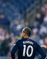 Foxborough, Massachusetts - April 6, 2018: In a Major League Soccer (MLS) match, New England Revolution (blue/white) defeated,4-0, Montreal Impact (white), at Gillette Stadium.<br /> Steam.