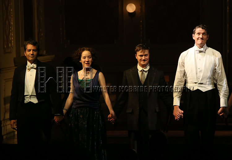 Alfredo Narciso, Brooke Bloom, Steven Boyer and Gabriel Ebert during the Broadway Opening Night performance Curtain Call Bows for The Roundabout Theatre Company production of 'Time and The Conways'  on October 10, 2017 at the American Airlines Theatre in New York City.